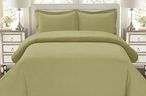 Hotel Luxury 3pc Duvet Cover Set-ON SALE TODAY-1500 Thread Count Egyptian Quality Ultra Silky Soft Top Quality Premium Bedding Collection, 100% -Queen Size Sage (Today Sale)
