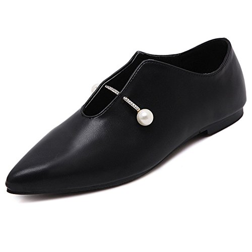 eshion Women Stylish Synthetic Leather Slip On Point Toe Flats Black aRnHAsuuU