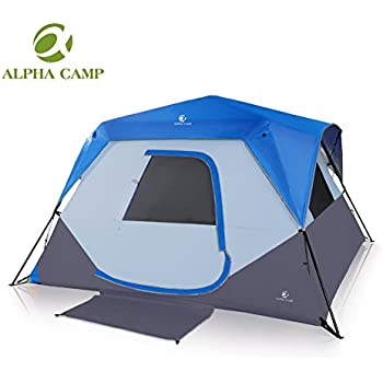 ALPHA CAMP 6 Person Instant Cabin Tent C&ing/Traveling Family Tent Lightweight Rainfly With Mud  sc 1 st  Amazon.com & Amazon.com : ALPHA CAMP 6 Person Instant Cabin Tent Camping ...