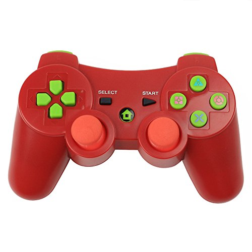 (PS3 Controller XFUNY Wireless Bluetooth 6-Axis Controllers Dualshock 3 Gamepad for PlayStation 3 (Red))