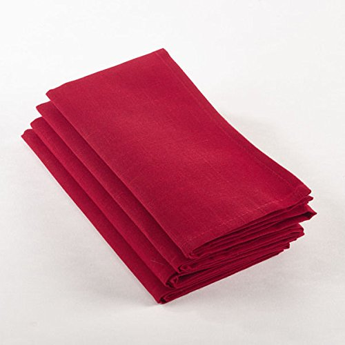 Christmas Tablescape Decor - Classic style easy care polyester red cloth dinner napkins - Set of 4 by Generic