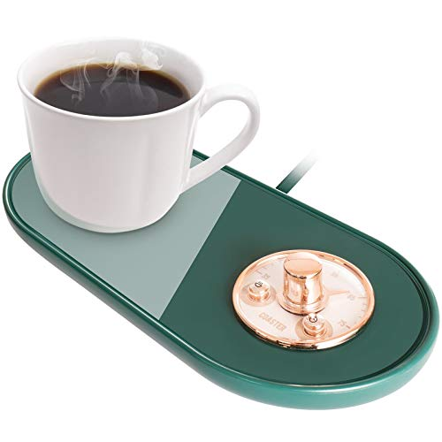 Coffee Mug Warmer,Adjustable Temperature Smart Coffee Warmer Plate for Office Home Desk with Automatic Shut Off and On,Coffee Cup Warmer for Coffee, Milk,Tea, Water(Without Cup),(Dark Green)