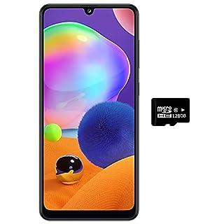 """Samsung Galaxy A31 (128GB, 4GB) 6.4"""" FHD+, Quad Camera, 5000mAh Battery, Dual SIM GSM Unlocked US + Global 4G LTE International Model - A315G/DSL (Prism Crush Black, 128GB + 128GB SD + Case Bundle)"""