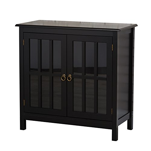 - Contemporary Wood 2 Door Storage Cabinet with Tempered Glass and 2 Shelves - Includes Modhaus Living Pen (Black)