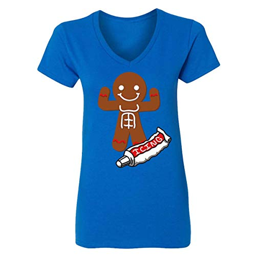 Christmas Cookies Gingerbread Man Icing ABBS V-Neck T-Shirts for Women(Royal,Small)]()