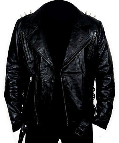 XL - Black - Faux Leather - Ghost Rider Biker Jacket