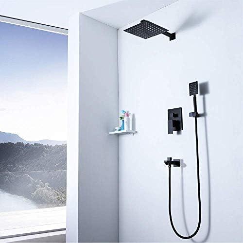 黒の3機能壁内10インチステンレス鋼極薄トップスプレーセットシャワーの蛇口シャワーシステム
