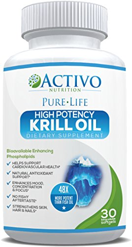Pure Krill Oil, Super Omega 3 Supports Healthy Heart, Brain, Joint Health, Memory, Focus, Energy, Mood - With Vitamins E A D for Maximum Benefit Women and Men - Easy Swallow Soft Gel Capsules