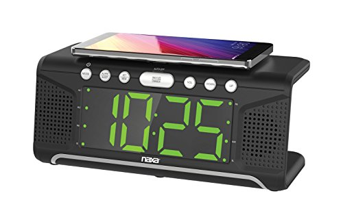 NAXA Electronics NRC-190 Dual Alarm Clock with Qi Wireless Charging Function for Smartphones/iPod/iPhone/Tablets, LED Display, Black