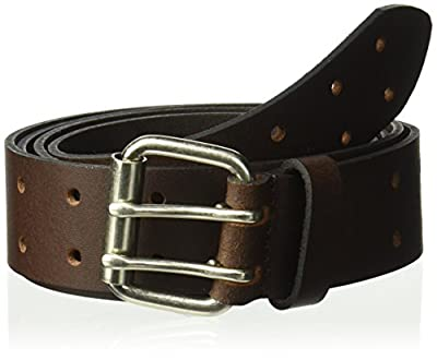 Dickies Work Belt for Men - Leather with Double Prong Buckle for Jeans and Heavy Duty Construction,Brown,44