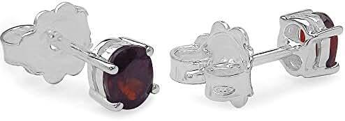 Silvancé - Women's Earrings - 925 Sterling Silver - Genuine Gemstone: Garnet - E451G