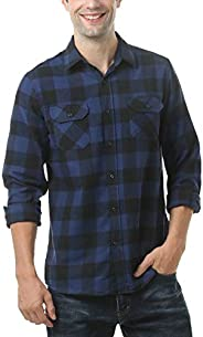 Leisurely Pace Men's Button Down Long Sleeve Buffalo Plaid Flannel S