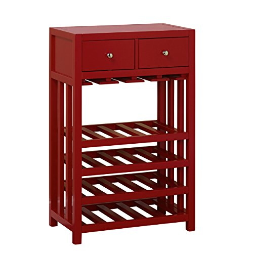 Tower Wine Rack - Target Marketing Systems Free Standing Wine Storage Tower Console with 2 Drawers, Red
