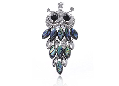 - Alilang Faux Abalone Body Black Eyed Clear Rhinestone Silvery Tone Owl Necklace Pendant