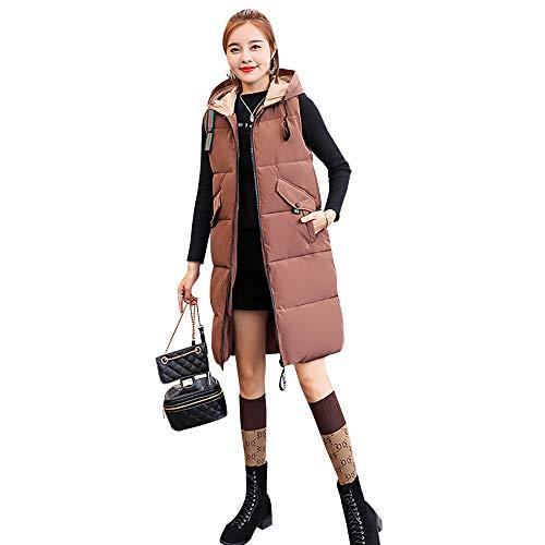 Section Capuche Loisirs En Longue Manches Marron Bozevon Coton Veste Les Duvet Gilet Sans Femme À 4B8XR