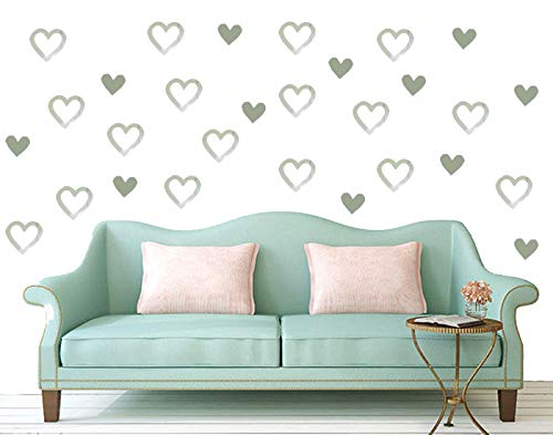 Mirror Heart Shape Wall Sticker,Heart Stickers Heart Labels Mirror Wall Decor Removable DIY Mirrors Wall Decals Mirror Decorative Wall Art for Living Room Bedroom 100pcs