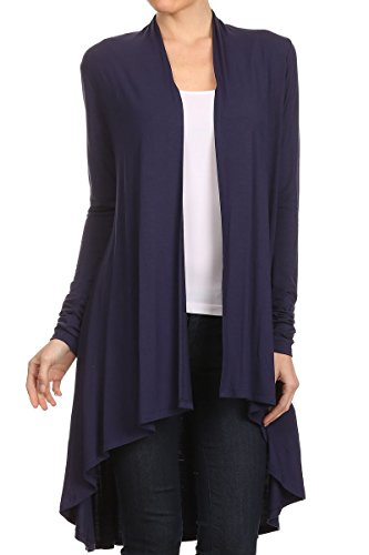 ReneeC. Women's Natural Bamboo Solid Open Front Draped Cardigan - Made in USA (Large, Navy)