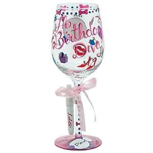 Santa Barbara Design Studio C-GLS11-5517A Lolita Personalize it Hand Painted Wine Glass, Birthday Diva
