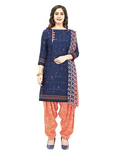 Jevi Prints Women's Faux Crepe Block Print Dress Material (Varsha-2982_Blue & Orange_Free Size)