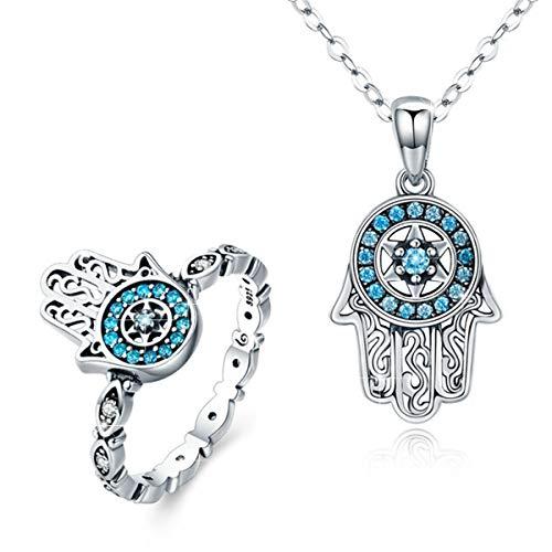 Sterling Silver Hamsa Ring - BAMOER 925 Sterling Silver Hamsa Ring CZ Finger Rings for Women Girls Gift for Her Ring Size 7