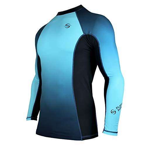 (Mens Rash Guard Long Sleeve Surf Shirt Swimsuit - Quick Dry Sun Protection Clothing UPF 30+ (Blue, M))