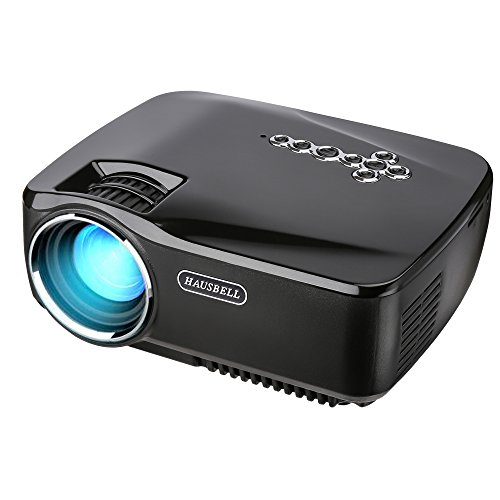 Projector hausbell 1500ansi lumens led luminous efficiency mini portable video projector for for Exterior 400 image projector price