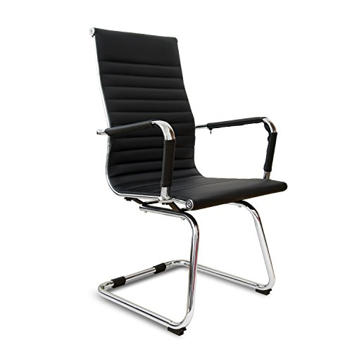 - PULUOMIS Ribbed Leather Office Guest Chair with Arms, Quality Plating, Sled Base, Eames Replica visitors chair, Black