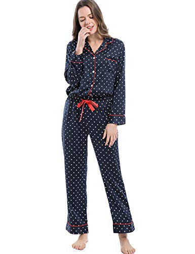 Serenedelicacy Women's Silky Satin Pajamas, Button Up Long Sleeve PJ Set Sleepwear Loungewear (Medium / 8-10, Dot (Navy Red))
