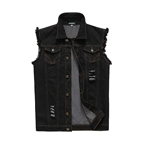 NASKY-Men's Fit Retro Ripped Denim Vest Sleeveless Jean Vest and Jacket