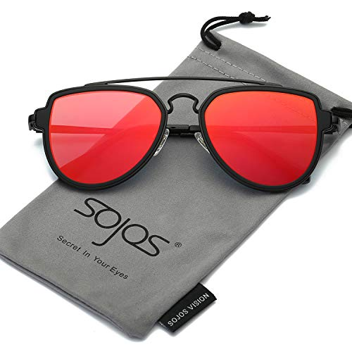 SOJOS Fashion Aviator Unisex Sunglasses Flat Mirrored Lens Double Bridge SJ1051 with Matte Black Frame/Red Mirrored Lens ()