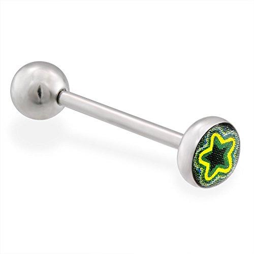 Star Logo Barbell Tongue Ring (Layered Star Logo Tongue Ring, 14 Ga, Green)