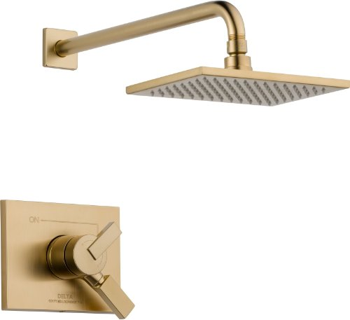 Delta Faucet Vero 17 Series Dual-Function Shower Trim Kit with Single-Spray Touch-Clean Rain Shower Head, Champagne Bronze T17253-CZ (Valve Not Included)