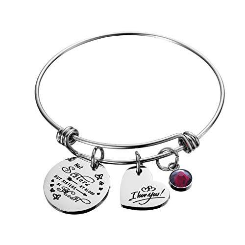 Raysunfook Not Sisters by Blood But Sisters by Heart Birthstone Charm Bracelet Friendship Gift I Love You Sister Cuff Friend Jewelry (Cuff Charm Heart)