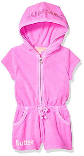 - Butter Baby Girls Mineral Wash French Terry Romper, Flip Flops Paradise Pink, 12M