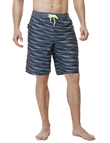 TSLA Men's 11 Inches Swimtrunks Quick Dry Water Beach, Color Block(msb02) - Wave Dark Grey, -
