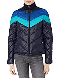 Women's Colorblock Chevron Jacket with Sweater Collar