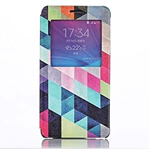 TOPQQ Diamond Pattern Open the Window Leather Cover with Stand for Samsung Galaxy Note 4