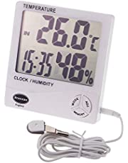Jumbo Max Min termómetro e higrómetro con reloj interior y exterior para uso en invernadero o en casa montado en la pared o soporte sonda de temperatura exterior