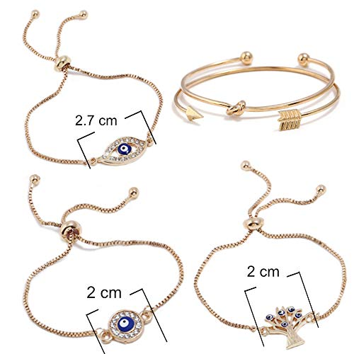 ISAACSONG.DESIGN Bohemian Evil Eye Love Knot Charm Adjustable Bolo Chain Link and Bangle Cuff Bracelet Set for Women and Girls (5 Pcs Evil Eye Set) by ISAACSONG.DESIGN (Image #1)