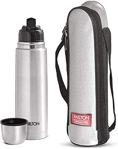 Milton Flip Lid 1000 Thermosteel 24 Hours Hot and Cold Water Bottle with Bag, 1 Litre, Silver Price & Reviews