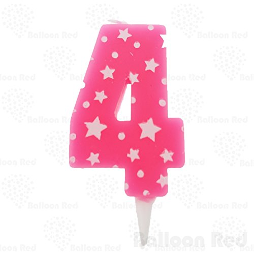 Numerals Birthday Party Cake Candle & Happy Birthday Cake Topper, Pink, Number