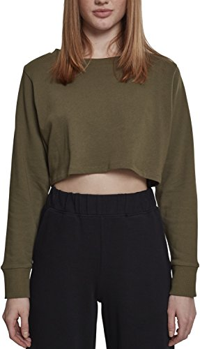 Urban Classics Ladies Terry Cropped Crew, Pull Femme Vert (Olive 00176)
