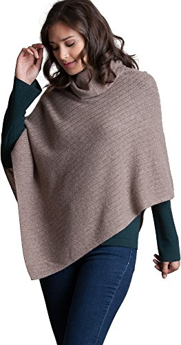 Ribbed Turtleneck Poncho - Overland Sheepskin Co Phoebe Fine Cashmere Turtleneck Poncho