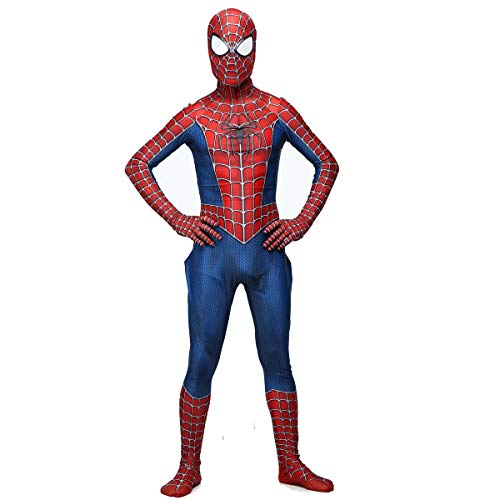 YERFONE Unisex Lycra Spandex Zentai Halloween Far from Home Spiderman Jumpsuit Bodysuit Kids and Adult Spider Tights Costume Redblue -