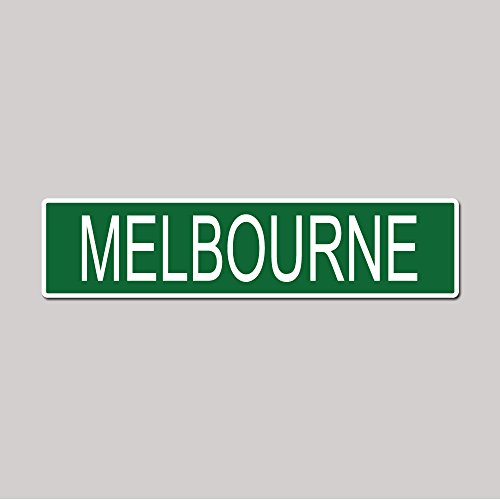 MELBOURNE City Pride Green Vinyl on White - 4X17 Aluminum Street Sign (Melbourne Store Green)