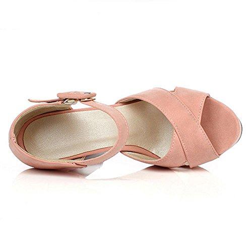 Mujer de Correa Hebilla de Sandalias verano Zapatos tacón Suede Zapatos de alto tiras con Plataforma Boda tacón Bloque CoolCept Pink dp6qwxOfEd