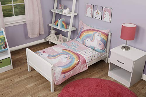 Funhouse 4 Piece Toddler Bedding Set - Includes Quilted Comforter, Fitted Sheet, Top Sheet, and Pillow Case - Unicorn Design for Girls -
