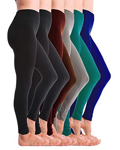 Homma Basics 6 Pack Fleece Lined Winter Warm Thick Legging (Black x2, Brown, Lt.Grey, F.Teal, Royal, XL/XXL)