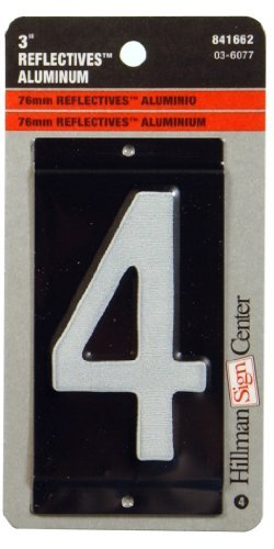 The Hillman Group 841662 3-Inch Aluminum Reflective Mailbox Number 4 by The Hillman Group