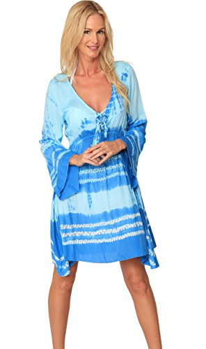 INGEAR Tie Dye Dress Long Sleeve Bell Summer Loose Fashion Beachwear Cover Up (Large, - Dye Tie Cover Up